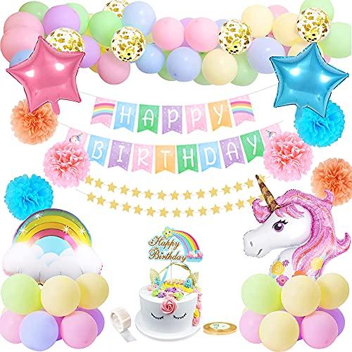 Decoraciones de cumpleaños de unicornio para niñas, globos de unicornio Sakura, pancarta de feliz cumpleaños con arcoíris, globos de confeti dorado para decoración de fiesta de baby shower