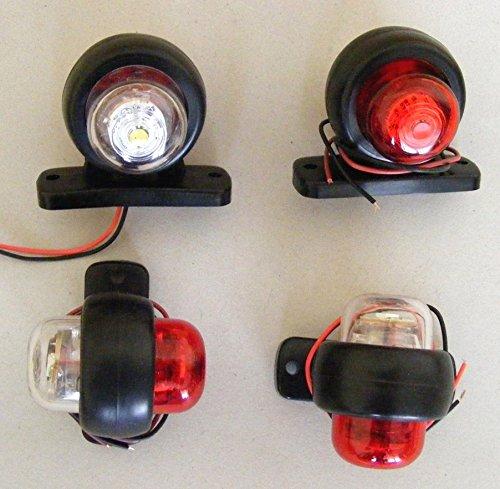 Lot de 4 indicateurs lumineux LED blanc/rouge arrière 24 V, pour camion, remorque, 4x4, caravane, van.