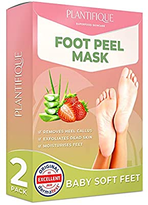Foot Peel Mask - Strawberry Feet Peeling Mask 2 Pack - Dermatologically Tested, Cracked Heel Repair, Dead Skin Remover for Baby Soft Feet - Exfoliating Peel Natural Treatment by Plantifique by Plantifique