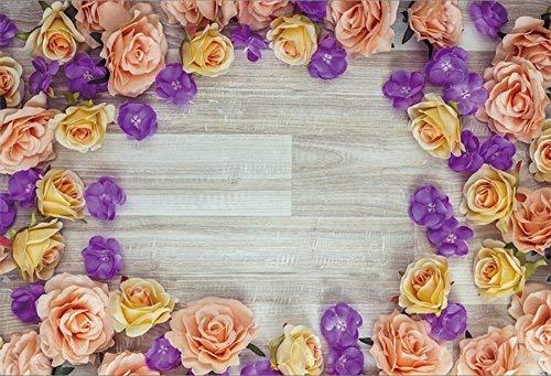 EdCott - Marco de fotos de vinilo, 10 x 8 pies, color lila, flores y madera, fondo de color champán y rosa