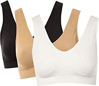 DEALSEVEN FASHION Women's Cotton Non-Padded Wire Free T-Shirt Bra-Pack of 3(Black,White & Skin_Free Size_SFH036)