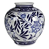 A&B Home Blue and White Porcelain Vase, 8.5' x 8.5' x 9'