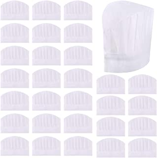 Sntieecr 30 Pack Disposable 8 Inch Kids White Paper Chef Hats, Adjustable Chef Toques Kitchen Chef Caps for Cooking, Baking, Party Favors, Home Kitchen, School and Restaurant