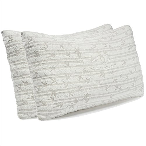 Clara Clark Shredded Memory Foam Queen/Standard Size Pillows for Sleeping - 2 Pack Shredded Memory Foam with Machine Washable Cooling Hypoallergenic Breathable Cover - Adjustable Loft - White