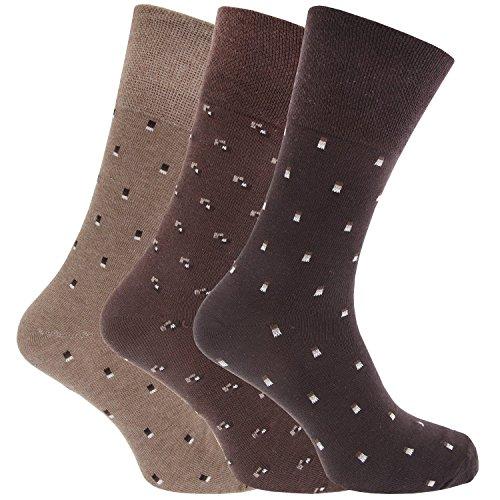 SockShop RJ20 Lot de 6 paires de chaussettes en coton pour homme Marron Pointure 39-45