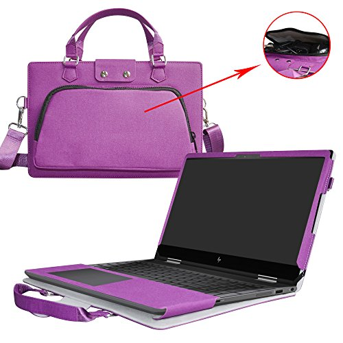 Envy x360 15 Case,2 in 1 Accurately Designed Protective PU Leather Cover + Portable Carrying Bag for 15.6 HP Envy x360 15 15m-bp000 15m-bq000 Series Laptop(Not Fit 15-w000/15-aq000/15-ar000),Purple