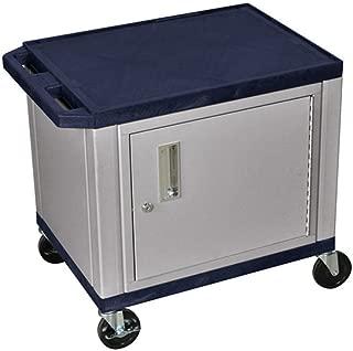 H WILSON WT26ZC4E-N 2-Shelf AV Cart with Cabinet, Tuffy, Navy Blue