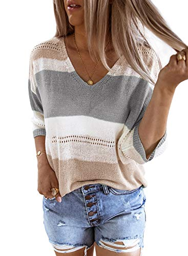 FIYOTE Damen Pullover Casual t-Shirts Sweater Bunt Bluse Oberteile Elegant T-Shirts Tank Tunika