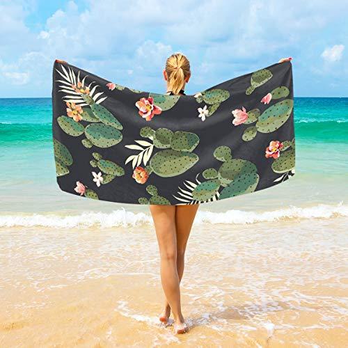 Ahomy Toallas de Playa de Microfibra con diseño de Cactus, Plantas Tropicales, Toalla de Viaje Grande, Ultra Absorbente, Secado rápido, Toalla de Gimnasio para Hombres, Mujeres y niños
