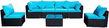 7-Pieces Patio Sofa Set Black Rattan Wicker Outdoor Garden Furniture Couch w/Blue Pillows, Cushions (7 Pieces)