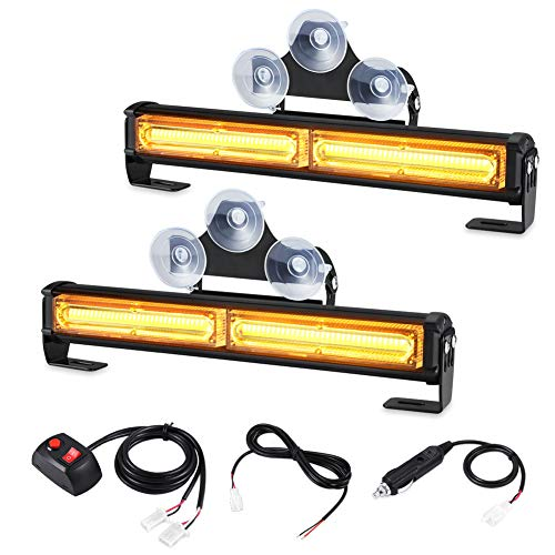 AT-HAIHAN Amber Grille Visor Light Head, 32W Bright Linear LED Mini Strobe Lightbar Surface or Winshield Mount for POV, Utility Vehicle, Construction Vehicle and Tow Truck Van