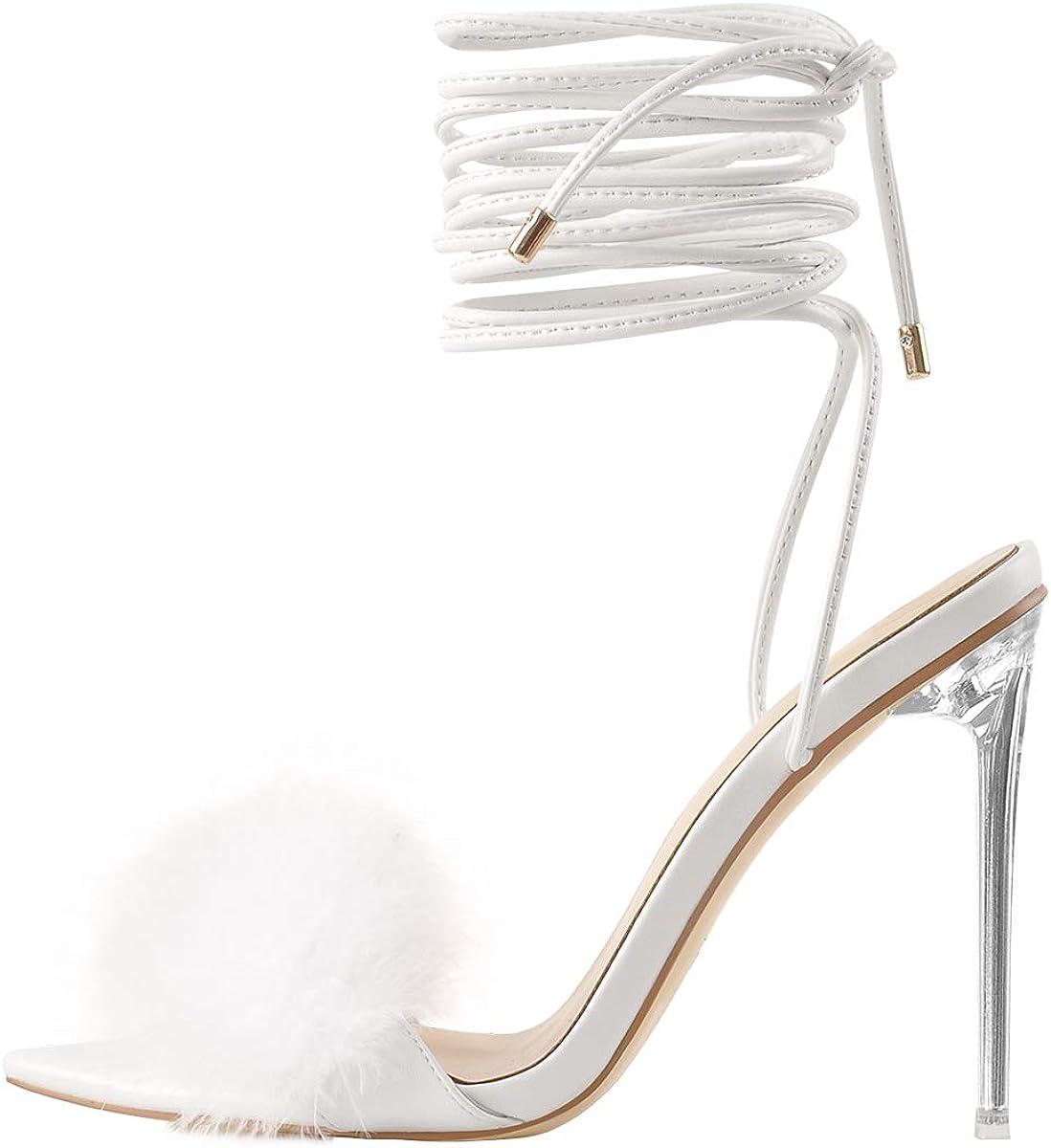 Fashion Richealnana Women's Fluffy Feather Pointed Sanda Max 83% OFF Heels Toe Clear