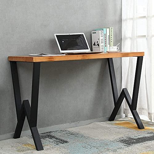 2 Pcs Metal Table Legs, Heavy Duty Desk Legs, Iron Bench Legs, Industrial DIY Furniture Legs for Home Office Dining, Black (H:28 W:19.6 Inch, Creative-Shape)