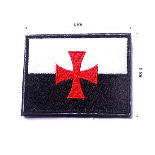 aquiver bandera de caballeros templarios Cruz cruzados Tactical moral bordado Touch cierre ejército parche tiao dun