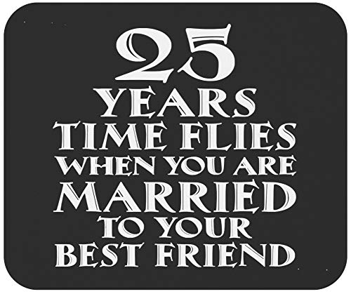 Wedding Anniversary 9' Mousepad Mousemat - 25 Year Marriage - 25 Years Wedding Anniversary Shirt Funny Mouse Mat Mouse Pad Canvas
