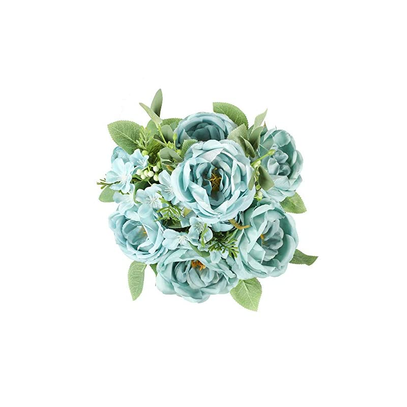 silk flower arrangements floweroyal artificial peony vintage faux camellia silk flowers bridal bouquets with 6 bloomed flower heads for wedding table centerpieces home floral arrangements (blue)