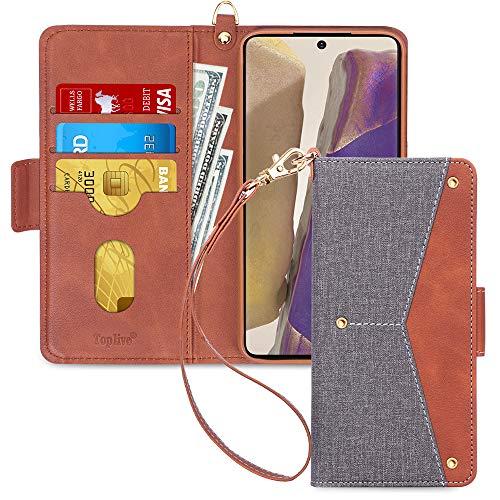 Toplive Samsung Galaxy Note 20 5G Hülle, Galaxy Note 20 Handyhülle Tasche Brieftasche Flip Schutzhülle mit [Ständer] & [Kartenhalter] für Samsung Note 20 Handytasche Hülle (2020)-Grau