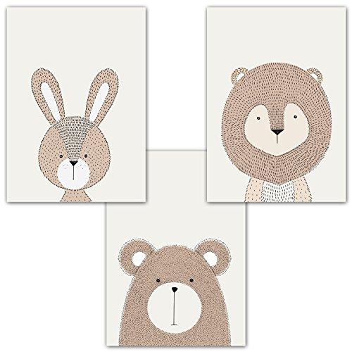 Frechdax® 3er Set Kinderzimmer Poster Babyzimmer DIN A4 ohne Bilderrahmen | Mädchen Junge | Kinderposter Kunstdruck im skandinavischen Stil | schwarz/weiss oder bunt | Set-14