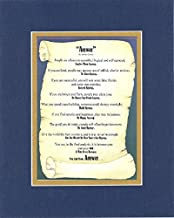 Inspirational Poem - Anyway by Mother Teresa Poem on 11 x 14 CUSTOM-CUT EXTRA-WIDE Double Beveled Matting (Blue on Gold)