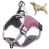 Cooyes - Arnés ajustable para mascotas, sin tirones, arnés de chaleco para cachorro, malla acolchada transpirable para el pecho, para perro y gato, con campana gratis
