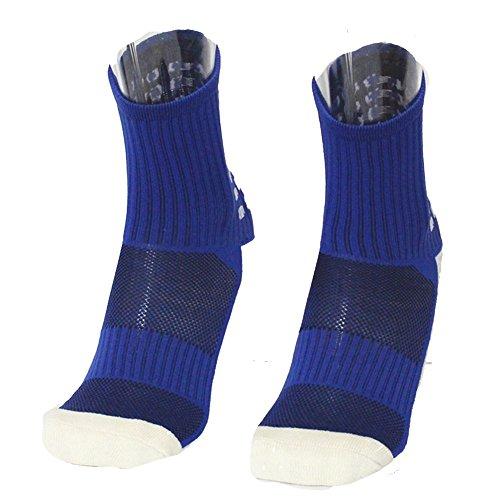 Zhaoaiqin onderste handdoek voor voetbal, lange kousen, antislip, voor kinderen en heren, ademend, zweetabsorberende stof, gekamd katoen, spandex, middenbuis blauw A