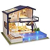 Sutinna Kit De Casa De Muñecas En Miniatura para Bricolaje, Montaje En Miniatura De Madera, Adorno Decorativo, Casa De Muñecas, Apartamento De Tiempo De Bricolaje, Chalet Grande, Cabaña