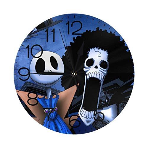 NOBRAND Relojes sin Marco Reloj sin tictac Reloj de Pared Redondo con número de Reloj Jack Skellington