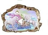 Sticker mural licorne pour chambre de fille - 1 feuille de licorne - 790mmX 570 mm