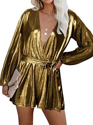 YOINS Vestido Fiesta Mujer Largo Mono Vestido Lentejuelas Mujer Manga Larga Casual Cuello En V Camisa Brillante Jumpsuit Elegante Oro Rosa L