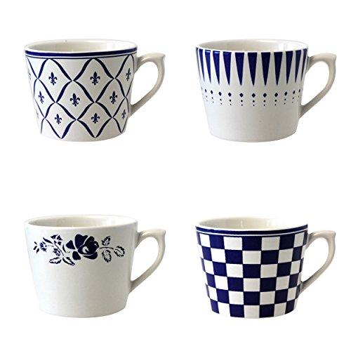 Depot d'argonne 4 Tasses à Cappuccino, Motif en céramique, Bleu, 11 x 9 x 7 cm