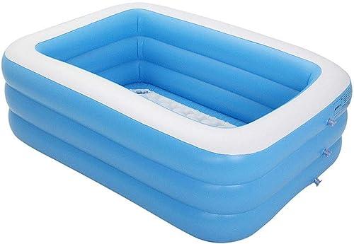 MPLMM Piscine Gonflable pour Enfants Ponton Jeu De Récréation Aquatique pour Enfants Piscine Rectangulaire Bleue Et Blanche 1.96M Three sacue