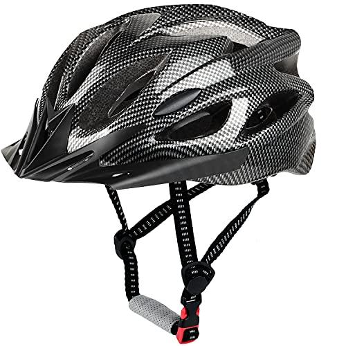 LUCKATCH Erwachsene Fahrradhelm, Mountainbike Helm, Rennradhelme mit Abnehmbarem Visier und Polsterung, Leichter Fahrradhelm mit Kinnschutz Für Männer Damen (56-60cm) (Kohlenschwarz)