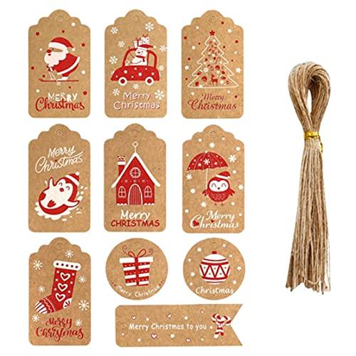 fdsfa Etiquetas, Papel Kraft de Navidad Etiquetas de Regalo con 50 Gratis de la Cuerda de Yute, Listados de Embalaje de Regalo para Fiesta de Cumpleaños Boda Navidad Día de Acción