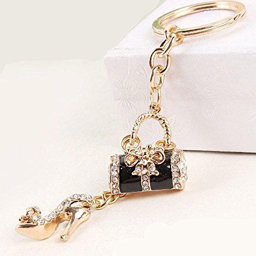 Flower Drum with High Heels Shoe Keychain Key Ring Key Chain Cinderella Charms Women Car Trinket Female's Gift Key Ring Key Holder Key fob Bag Fashion Accessories (Black)