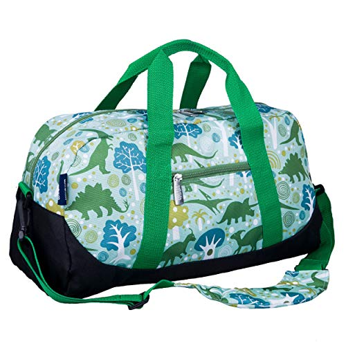 Wildkin Kids Overnighter Duffel Bag for Boys and Girls, Carry-On Size and Perfect for After-School Practice or Weekend Overnight Travel, Measures 18x9x9 Inches, BPA-free,Olive Kids(Dinomite Dinosaurs)