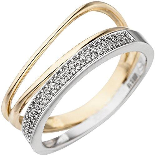 JOBO Damen Ring 585 Gold Gelbgold Weißgold bicolor 51 Diamanten Brillanten Goldring Größe 58