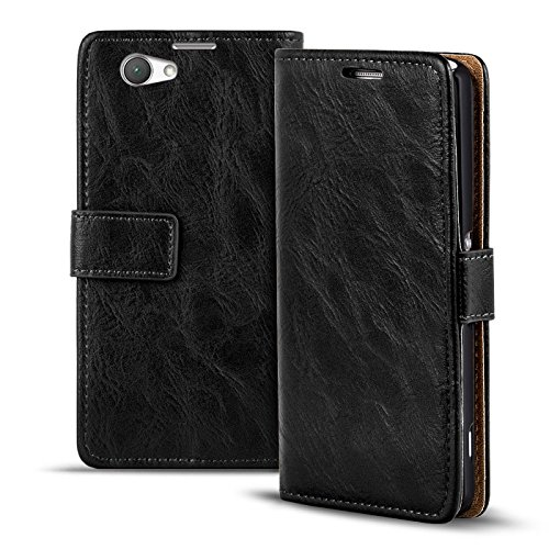 Verco Xperia Z1 Compact Hülle, Premium Handy Schutzhülle für Sony Xperia Z1 Compact Hülle PU Leder Wallet Tasche Retro Flipcase, Schwarz