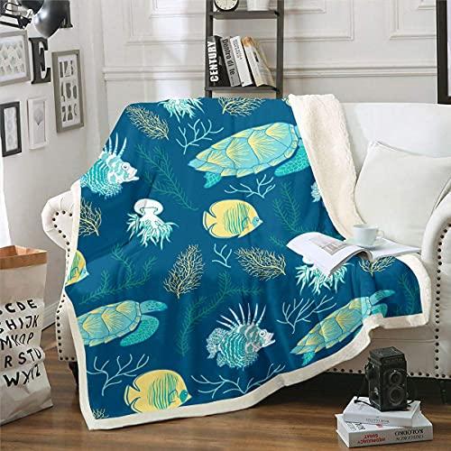 Manta de forro polar de dinosaurio para sofá cama, diseño de animales de la selva, manta de felpa linda de dibujos animados Dino Sherpa Manta de vida silvestre difusa doble 60 x 50 pulgadas