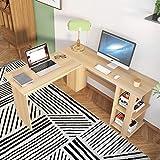 SogesHome Corner Desk L Shaped with Shelf Desk 51.2 x 51.2 inches Large Size Wood Computer Desk Home Office Desk L Desk, Maple White, NSDUS-XTD-SC01-MO