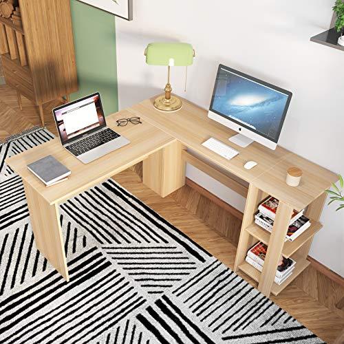 soges Schreibtisch L Form Eckschreibtisch Gaming Tisch Computertisch mit 2 Regalen aus hochwertige Holzwerkstoffen für Gaming Studien und Arbeit,Weiß Ahorn,130 x 130 x 74 cm