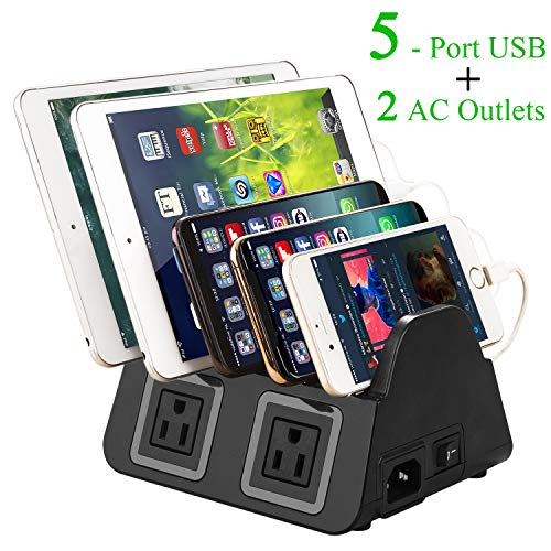 UDOLI 5 USB Ports Charging Station Organizer for Multiple Devices Fast Charging Desktop Stand for Apple Android Phone Tablet 1600W 2 AC Power Outlets Charger Dock for Home Office 3 Prong Cord Black