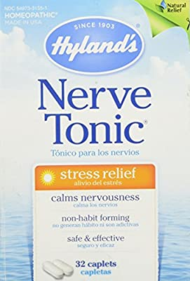 Hyland's Nerve Tonic Caplets, Natural Stress Relief Homeopathic Formula, 32 Count