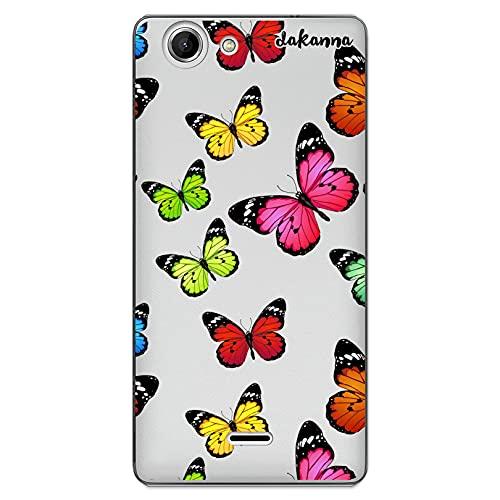 dakanna Funda Compatible con [ Wiko Pulp 4G ] de Silicona Flexible, Dibujo Diseño [ Estampado de Mariposas Multicolor ], Color [Fondo Transparente] Carcasa Case Cover de Gel TPU para Smartphone
