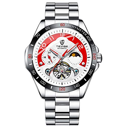 QZPM Hombres Automático Mecánico Relojes Acero Inoxidable Bracelet Fase Lunar Analógico Multifunción Impermeable Cronógrafo Business Relojes,White Red
