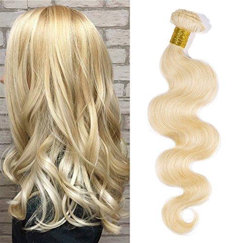 """Tissage Blond Meche Bresilienne Extension Cheveux Naturel Ondulé #613 Blond très clair - Grade 7A Human Hair Extensions - 1 PCS (100g) - 10""""/25cm"""