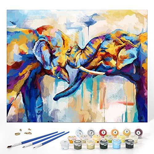 SUMGAR Pintar por Numeros Adultos Elefante Animales, Cuadros para Pintar por Numeros Equipo, De Bricolaje Acrílica Al Óleo Pintura por Números en Lienzo, Paint by Numbers 40 x 50 cm (sin Marco)