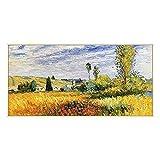 Póster de Claude Monet – Camino por la amapolas de campo de la amapola, impresión de alta calidad, lienzo de fieltro, impresión artística, moderna para el hogar, sin marco (60 x 100 cm)
