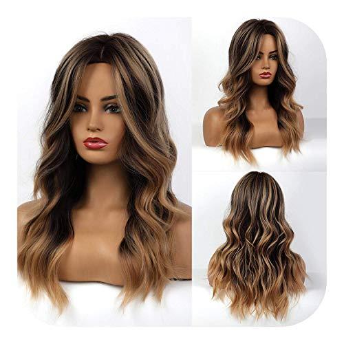 PJPPJH Perruques pour Femmes Cheveux Humains Longue Vague synthétique Brun à Blond doré Ombre Perruque de Cheveux Porter quotidiennement