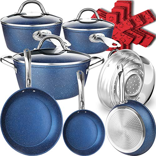 Dealz Frenzy 16 Pieces Ultra Non-Stick Induction Cookware Set, Pots and Pans Set, Stone-Derived Mineral Marble Coating, Stainless Steel Handle, Scratch Resistance, Dishwasher,Oven Safe, Ocean Blue