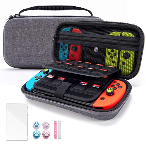 VENLING Gray Carrying Case for Nintendo Switch, Portable Traveler Protective Cover with 19 Game Card Cartridges & 2 SD Card Slots, Storage Carrying Pouch with 4 Joystick caps & 1 Screen Protector